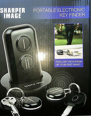 Sharper Image Portable Electronic Key Finder 45 Foot Range Transmitter Lost Keys