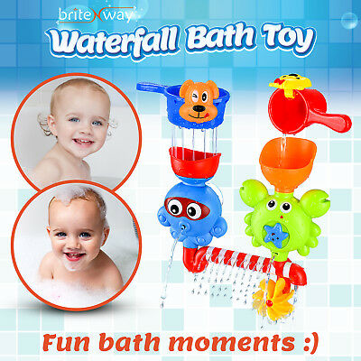 Baby Bath Waterfall Toys Stackable Cups Bathtub Water Spout Toddlers & Babies