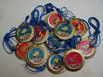 10 Dinosaur Thin Metal Charm Necklace Vending Machine Toys Old Store Stock