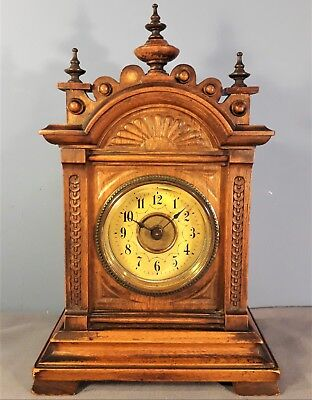 Antique Oak Cased Junghans Mantel Alarm Clock