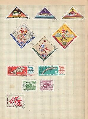 MONGOLIA 1960's on Album Page Stamps Removed for Shipping