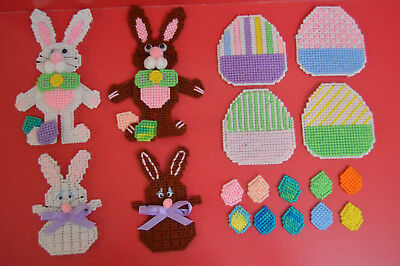 Lot Handmade Plastic Canvas Easter Decorations Completed Bunnies Eggs Unique