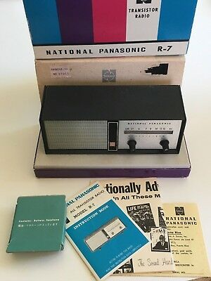 National Panasonic Radio Model R–7 Transistor in Box wth Manuals! Tested & works