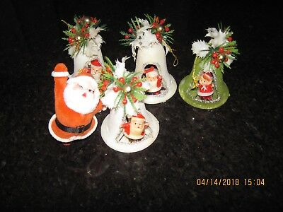 Vintage Felt Flocked Set of 4 Bells and 1 Santa/used/Hong Kong