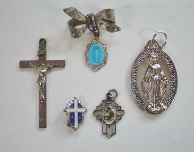 Lot of 5 Vintage Religious Holy Medals - One Sterling Silver - Look   (382m)