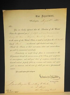 Historic 1865 Promotion To Brig. Gen. of Hero of Gettysburg by Edwin Stanton