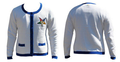 Order of the Eastern Star OES Heavy Weight Cardigan- White- Size 2XL- New!