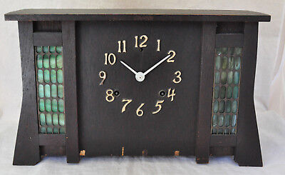 Antique Gilbert El Paso Mission Oak Arts & Crafts Clock w Green Slag Glass