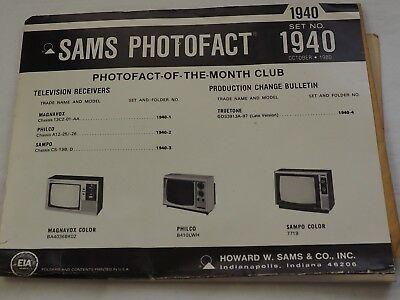Sams Photofact Set No.1940 3 Models Schematics & Service Manuals
