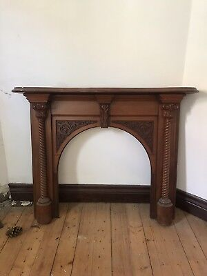 Antique Timber Fireplace Mantle