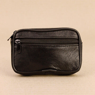 Handy Soft Black Faux Leather Zip Up Key Case Holder Coin Purse Wallet Keyring