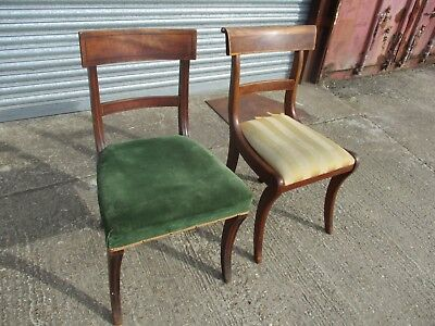 A Harlequin Matched Pair of William IV Mahogany Dining Chairs Restore Arched Bar