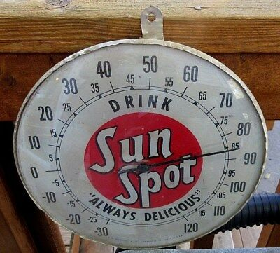 1950s T.W. O'CONNELL & CO. DRINK SUN SPOT SODA POP BUBBLE GLASS THERMOMETER