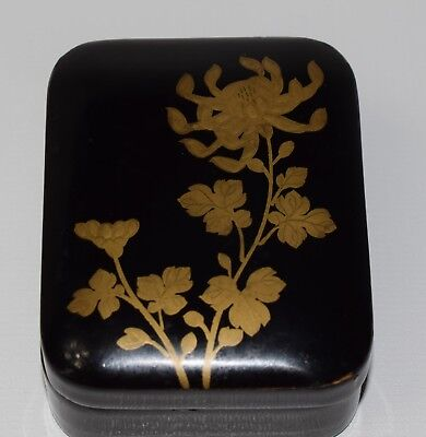 Vintage Japanese Lacquered Box Hand Painted Traditional Jewelry Box Gold Flowers