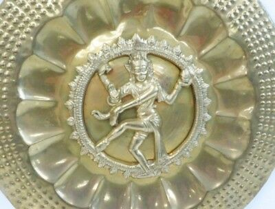 Vintage Hindu God Gold Tone Metal (Bronze?) Wall Hanging art