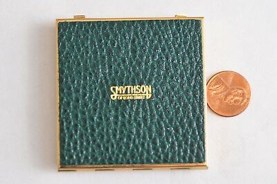 Vintage Smythson of Bond Street Green Leather Compact Purse Double Sided Mirror