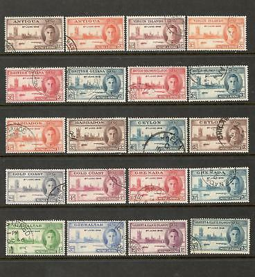 """BR. COMMONWEALTH – 1946 """"VICTORY"""" ISSUE x 18 DIFF. SETS (USED)"""