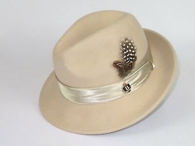 Mens Bruno Capelo Dress Hat Australian Wool Crushable Fedora Giovani Beige New