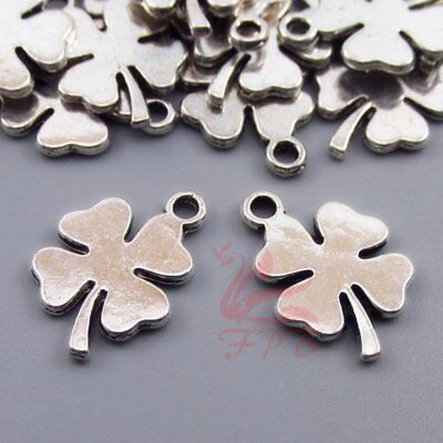 Four Leaf Clover 18mm Antiqued Silver Plated Charms C6695-10 20 Or 50PCs