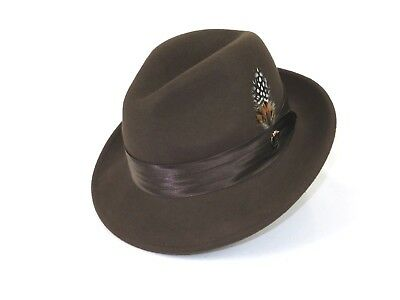 Mens Bruno Capelo Dress Hat Australian Wool Crushable Fedora Giovani Brown New