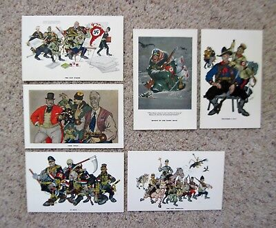 ARTHUR SZYK CARICATURES Set of 6 Esquire Esky Post Cards High Grade WWII 1942