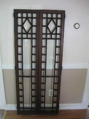 Antique,pair Of Hand Crafted,solid Oak Cabinet/cupboard Doors...