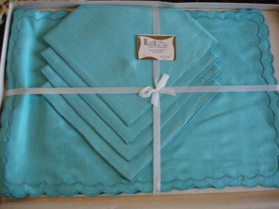 Leacock Vintage 100% Linen Turquoise Place Mats & Napkins  Set of 4  NWT