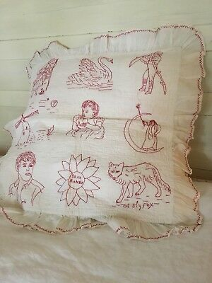 Primitive Red Work Quilt Pillow Sham Baby Quilt Vintage Textile W/ruffle Embroid
