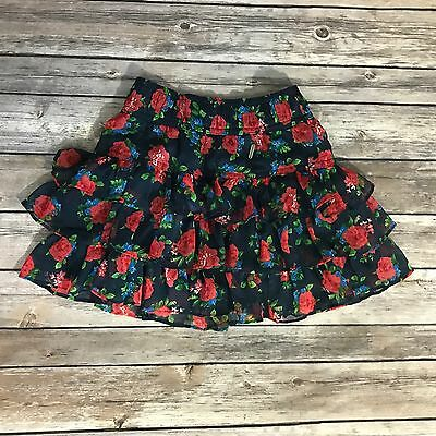 abercrombie fitch Kids Skirt Sz Small 10 Blue Red Floral Ruffled Tiered