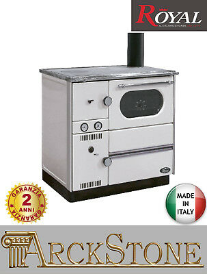 Thermocuisine âtre Bois Hydro Royal Palazzetti Betty Therm Blanc 29,7 kW