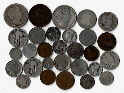 Lot Of 29 Rare Old Type 90% Silver Barber Seated Liberty 2C 3C Large Cent Coins