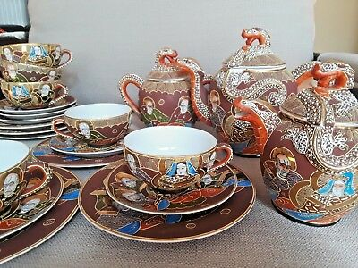 Vintage Kutani China Japanese Satsuma Porcelain Lithophane Dragonware Tea Set