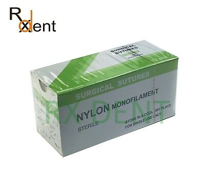 Nylon Mono filament  Sutures, Sterile, 75cm, 2/0, 3/0, 4/0, 5/0 USP, Pack of 12