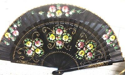 Antique Victorian BLACK HAND PAINTED WOOD/LINEN  Folding FAN Circa 1880