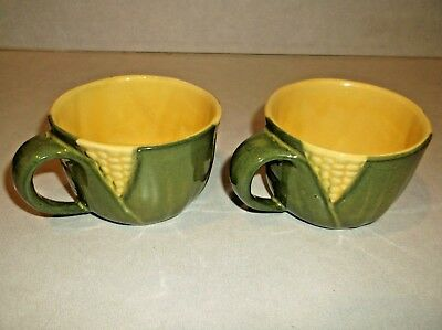 "Vintage ""SHAWNEE YELLOW CORN KING"" Pattern Lot of 2 Coffee Cups #90"