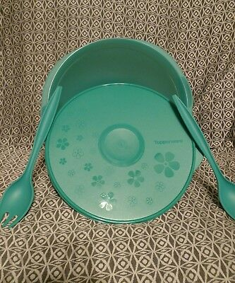 Tupperware New LEGACY 10L/42cup FLAT/Teal/Lt.Teal top w/Flowers Mega BOWLw/Tongs