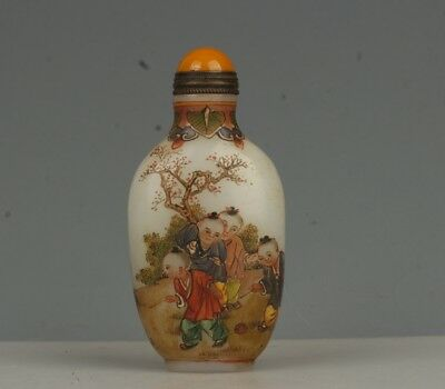 Chinese Exquisite Handmade Woman and children pattern Glass snuff bottle