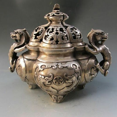 Chinese Silver Bronze Dragon Incense Burner & Lid W Ming Dynasty Xuande Mark
