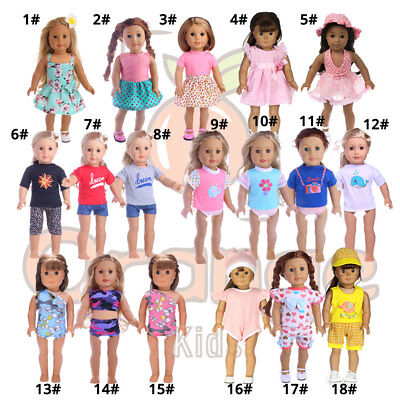 """5/10 PCS Doll Clothes Outfits Dress Panty for 18"""" American Girl w/ Free Gift"""