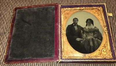 AMBROTYPE HALF PLATE OF MIDDLE AGED COUPLE IN LEATHER PHOTO CASE c.1855/1865