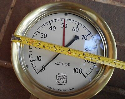 Antique Vintage US Gauge CO. Altitude Steam Gauge Cast Iron Brass Steampunk 7""