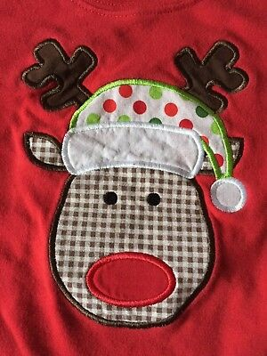 Toddler Size 3T Reindeer Shirt Long Sleeve Red With Machine Embroidery
