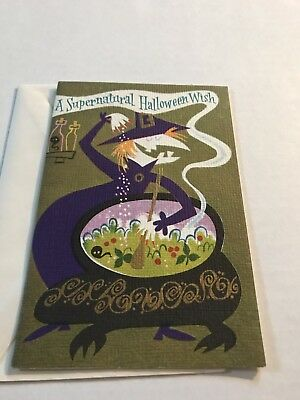 Halloween Vintage Witch Cauldron Supernatural Greeting Card Rust Craft Env New