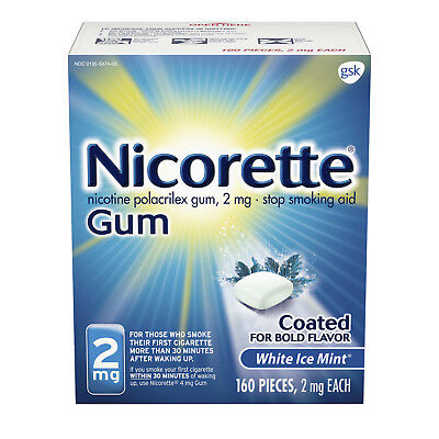 Nicorette 2mg White Ice Mint Gum 100 pieces NEW FACTORY SEALED
