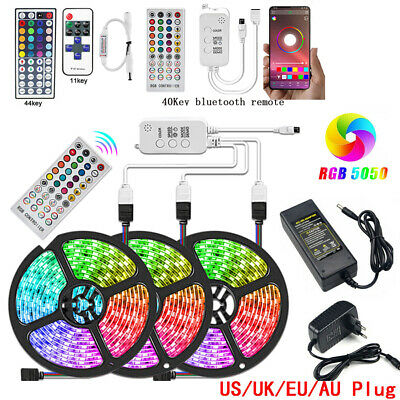 5M RGB LED Strip Light 5050 SMD Waterproof strip + 44 IR Remote +12V US/EU Power