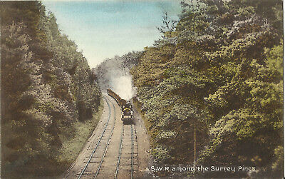 Postcard - Old Train, L. & S.W.R. - Among the Surrey Pines, UK