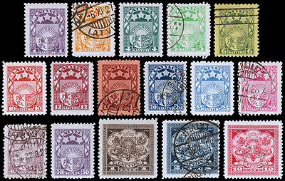 Latvia Scott 113-127, 131 (1923-25) Used/Mint H F-VF, CV
