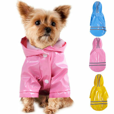 Dog Hooded Raincoat Pet Waterproof PU Jacket Puppy Outwear Clothes Costume US