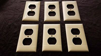 Lot 6 Vtg Cream Art Deco Outlet Wall Plate Cover Ribbed Bakelite Sierra Set of