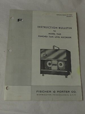 FISCHER & PORTER CO. Instruction Bulletin Model 1542 PUNCHED TAPE LEVEL RECORDER